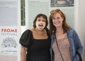 Tori Allison and Rosie Eliot at The Frome Festival 20th Anniversary Exhibition Event 3000 FF2021 FWCC ©David Chedgy Photography 97A9741